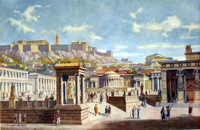 An artist's rendition of the public sphere in Greek antiquity.http://2.bp.blogspot.com/-C35B-Cu49ng/Tnc5Qe0tmnI/AAAAAAAAM1I/tm5AbohPocs/s1600/10056152aAthensAgora+copy.jpg