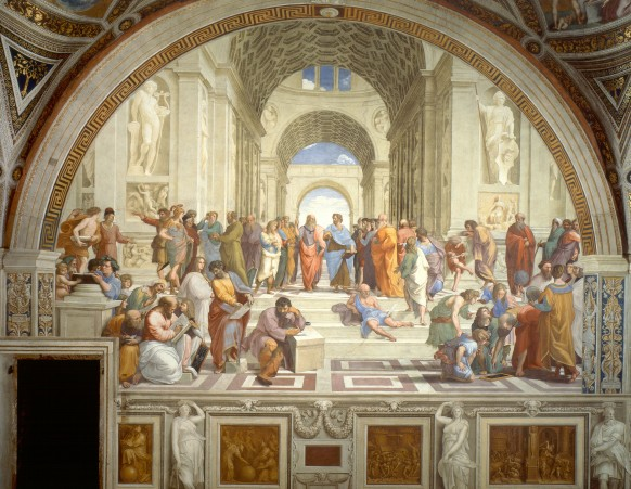 Raphael's famous fresco Scuola di Atene (School of Athens). Some of the earliest contributors to the philosophical tradition - including Plato and aristotle - are depicted. http://upload.wikimedia.org/wikipedia/commons/9/94/Sanzio_01.jpg