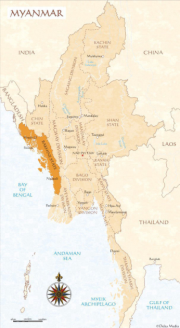 Map of Myanmar  / Burma with the Arakan (otherwise known as Rakhine) state highlighted Photo Credit: http://thewe.cc/weplanet/circus/2013/circus_may_2013-7.html
