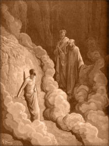 Marco Lombardo speaking to Dante in the Terrace of the Wrathful in Purgatorio