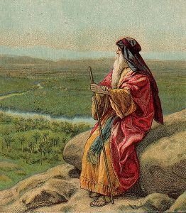 An artistic depiction of Moses surveying the Promised Land before his death. King saw Moses as a model of self-sacrifice.