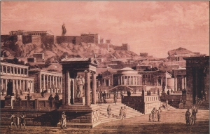 "An engraving of the Greek ""agora,""  literally meaning ""gathering space"" Source: galleryhip.com"