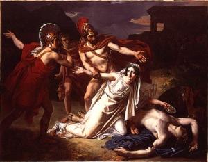 Antigone disregards mortal consequences in order to please her gods. (http://philomythois.com/wp-content/uploads/2014/08/Sébastien_Norblin_Antigone_et_Polynice.jpg)