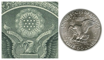 — E Pluribus Unum is present on both coins and bills today. Credit for coin:http://worldcoingallery.com Credit for bill: http://lunaticg.blogspot.com/2014/02/secrets-of-us-1-dollar-bill.html