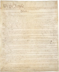 "The first page of the Constitution: note the prominent ""We The People"" Source: Wikipedia"