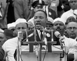 "Martin Luther King giving his famous ""I Have a Dream "" speech.  Credit: http://themagillreview.wordpress.com/2013/02/11/my-freedom-of-speech-an-essay/"