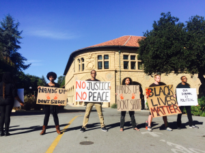 Students at Stanford University staging a nonviolent protest following the Ferguson decision (Image courtesy of http://stanfordreview.org/article/the-features-and-dangers-of-stanfords-collective-movements/)