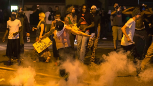 "Ferguson Riots ""Justice for Mike Brown"" http://www.rawstory.com/rs/2014/08/national-guard-called-in-to-ferguson-as-tear-gas-molotov-cocktails-and-bullets-fly/"
