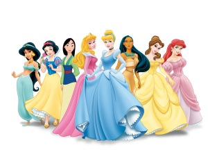 Disney's first and second waves of princesses. From left to right: Jasmine, Snow White, Mulan, Aurora, Cinderella, Pocahontas, Belle, Ariel (source: Google images)