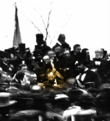 "President Lincoln at his speech at Gettysburg (Wikipedia.org, ""Gettysburg Address"")"