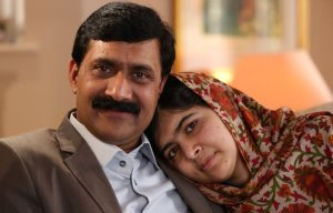 Malala with her father Ziauddin Yousafzai