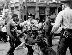 At Birmingham, AL, protestors were met with police dogs and hoses Source: amistadresource.org