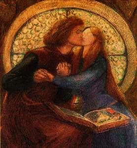 Francesca and Paolo's kiss, painted by Dante Gabriel Rossetti (Image courtesy of http://www.eng.fju.edu.tw/crit.97/Rossetti/Rossetti.htm)