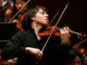 Joshua Bell, a famous American violinist, in performance.