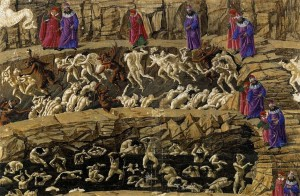 "Fig. 1: In Botticelli's painting ""Inferno, Canto XVII,"" sinners deserve their torments because they chose their fate. From Botticelli, Sandro. ""Inferno (Dante)."" Wikipedia. Wikipedia, 3 Dec 2015. Web. 8 Nov 2015."