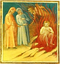 "Fig. 2: Dante and Virgil speak with Guido in the 8th Circle of Hell. From Thomas, Rebecca Shepherd. ""Dante's Inferno Canto XXVII."" Hubpages. Hubpages, 13 Aug 2013. Web. 6 Nov 2015."