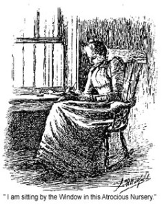 "Fig. 3: Drawing of the narrator in her room from Carr, Glynis, ed. ""The Yellow Wall-Paper."" The Online Archive of Nineteenth-Century U.S. Women's Writings. Bucknell College, 1999. Web. 6 Dec 2015."
